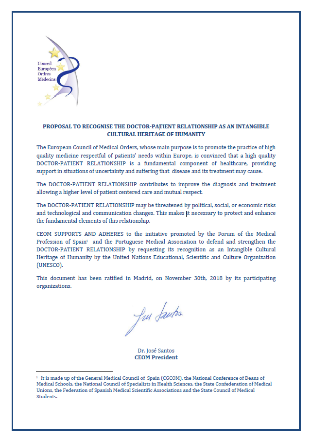 CEOM supports the recognition of the Doctor-Patient